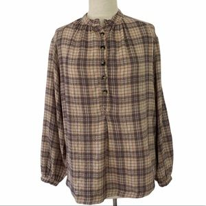 Free People Boho Shirt Top Tunic Plaid Pullover